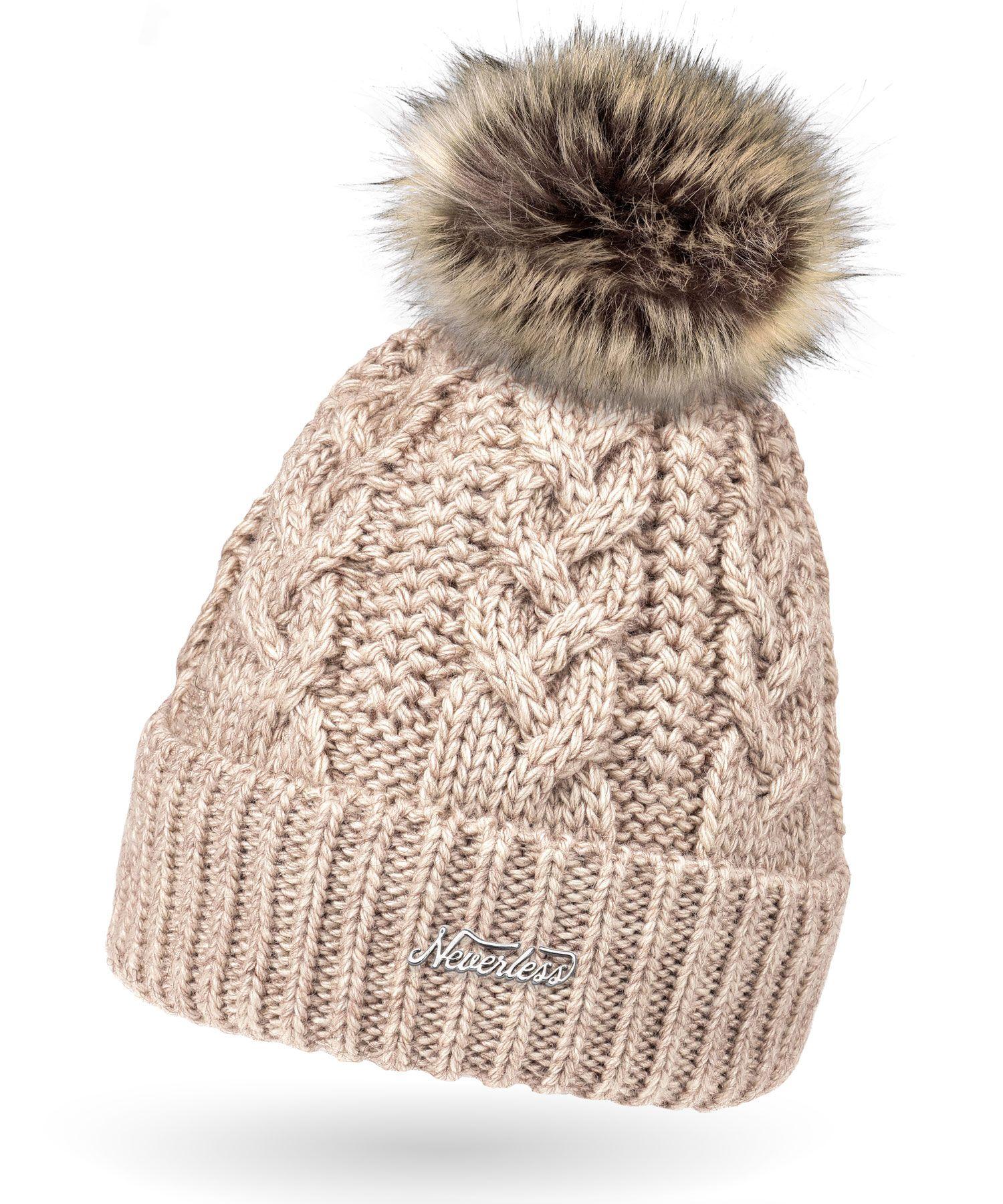 54d6c3e31b02d1 Damen Strick-Mütze gefüttert Fell-Bommel Kunstfell Winter-Mütze Bommelmütze  Neverless®