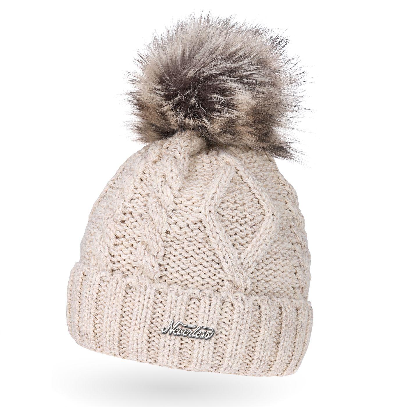 92ac5f13492fa7 gefütterte Damen Strickmütze Fell-Bommel Fleece-Futter Kunstfell  Winter-Mütze Bommelmütze Neverless®