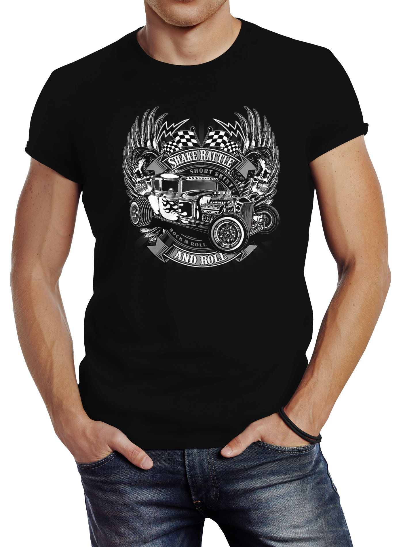 herren t shirt rockabilly hot rod rock n roll retro auto slim fit neverless ebay. Black Bedroom Furniture Sets. Home Design Ideas