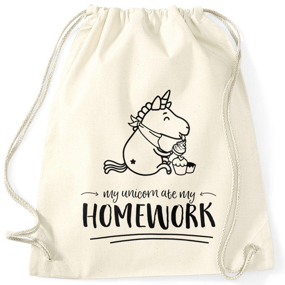 beutel sprüche Turnbeutel Einhorn My Unicorn ate my Homework Sprüche Spruch  beutel sprüche