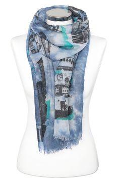 leichter Damen-Schal mit Batik, Tuch Halstuch Vintage, Trend Schal Monument Print Autiga®
