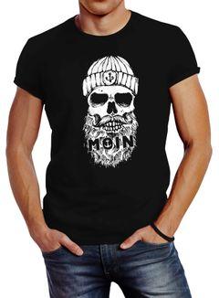 Neverless® Herren T-Shirt Moin Totenkopf Anker Skull Print Motiv Bart