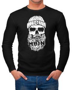Herren Long-Sleeve Aufdruck Moin Totenkopf Anker Skull Print Motiv Bart Langarm-Shirt Neverless®