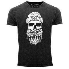 Herren Vintage Shirt Moin Totenkopf Anker Skull Printshirt T-Shirt Aufdruck Used Look Slim Fit Neverless®