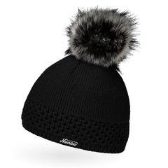 Damen Strickmütze gefüttertert Fell-Bommel Kunstfell Winter-Mütze Bommelmütze Neverless®