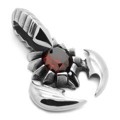 Anhänger Halskette Skorpion Kristall Biker Edelstahl Massiv Sternzeichen Gothic Punk Kugelkette Lederkette