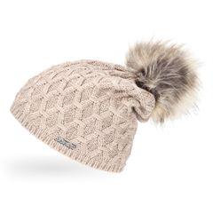 Damen Strickmütze gefüttert Fell-Bommel Strick-Beanie Winter-Mütze Bommelmütze Neverless®