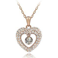-Damen Halskette Herz Kette Anhänger Heart Liebe vergoldet Zirkonia Kristalle Autiga®