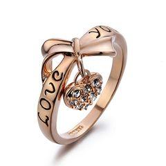 Damen Ring mit Love you Gravur und Herz Anhänger mit Zirkonia Kristalle Autiga®