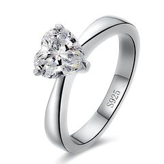 Verlobungsring Stein Herz-Form Damen-Ring Solitär-Ring 925 Sterling Silber Autiga®