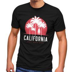 Herren T-Shirt California Palmen Santa Monica Beach Sommer Sonne Fashion Streetstyle Neverless®