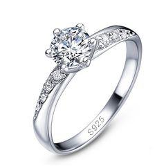 edler Damen-Ring Zirkonia Stein Solitär-Ring Verlobungsring 925 Sterling Silber Autiga®