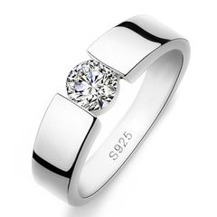 markanter Damen-Ring mit Zirkonia Stein, Solitär-Ring breit, 925 Sterling Silber Autiga®