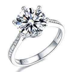 edler Damen-Ring Zirkonia Stein Verlobungsring Solitär-Ring 925 Sterling Silber Autiga®