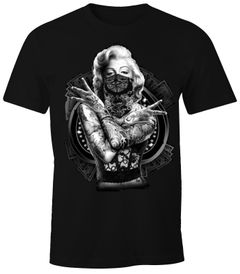 Herren T-Shirt Marilyn Monroe Gangster Outtlaw Tattoo MoonWorks®