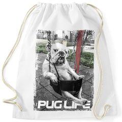 Turnbeutel Pug Life Print, Hund in Schaukel, Gymsac Gymbag Moonworks®