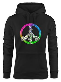 Hoodie Damen Peace Flower Power Sweatshirt Kapuze Kapuzenpullover Moonworks®