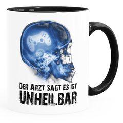 Kaffee-Tasse Der Arzt sagt es ist unheilbar Hobby Röntgenbild Schädel Controler Joypad Playstation Zocken Gamer Moonworks®