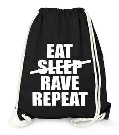 Turnbeutel Eat Sleep Rave Repeat Hipster Beutel Tasche Sportbeutel Gymsac Gymbag Moonworks®