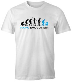 Herren T-Shirt - Evolution Papa Vater Kinderwagen - Comfort Fit MoonWorks®