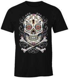 Herren T-Shirt - Totenkopf Blumen Skull - Comfort Fit MoonWorks®