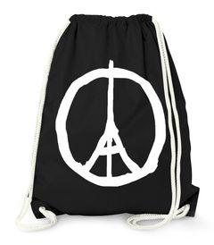 Moonworks® - Turnbeutel Beutel -  Paris Peace Zeichen Eiffelturm
