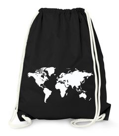 Turnbeutel, Weltkarte World Map, Beutel Tasche Sportbeutel Gymsac Moonworks®
