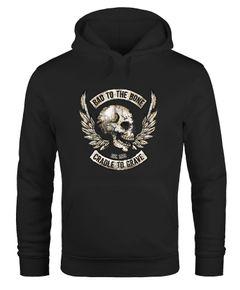 Hoodie Herren Biker Totenkopf Skull Motorrad Motorcycle Bone Wings Flügel Moonworks®