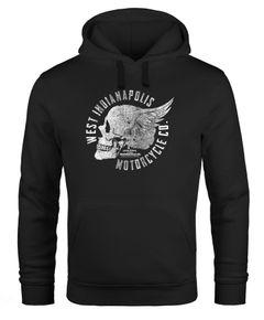 Hoodie Herren Sweatshirt Motorrad Biker Totenkopf Skull Wings Vintage Kapuzenpullover Neverless®