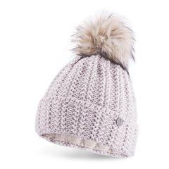 dicke Damen Strickmütze gefüttert Fell-Bommel Kunstfell Winter-Mütze Fleece Neverless®