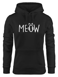 Hoodie Damen Katze Meow Miau Cat Sweatshirt Kapuze Kapuzenpullover Moonworks®