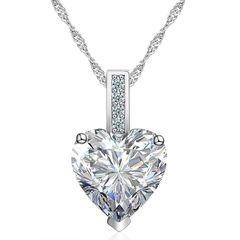 Damen Halskette Herz Anhänger Zirkonia Heart Geschenk Autiga®
