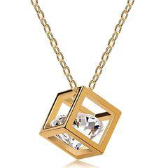-außergewöhnliche Damen Halskette Zirkonia in Würfel Anhänger, Cube, Autiga®