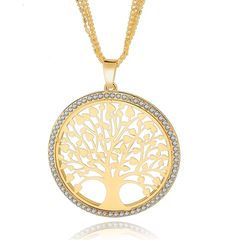 Damen Halskette großer Lebensbaum Anhänger Tree of Life Zirkonias vergoldet Autiga®