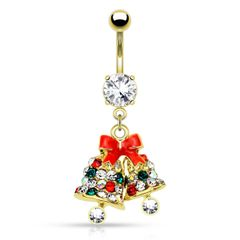 Bauchnabelpiercing Weihnachts-Glöckchen Anhänger Glocken Jingle Bells Zirkonia Kristalle Autiga®