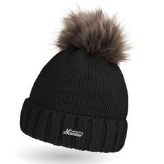 Damen Strick-Mütze Fell-Bommel Wollmütze Kunstfell Winter-Mütze Bommelmütze Neverless®