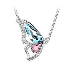 Hochwertige Damen Halskette mit funkelnden Schmetterling Anhänger | Zirkonia Kristall Strass | Swarovski Elements 18KGP