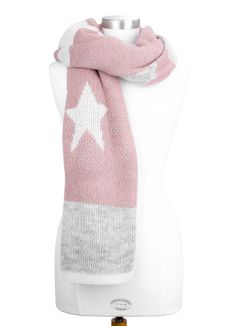 Premium Damen Strickschal Wollschal mit Alpaka-Wolle Sterne langer Winterschal Made in Italy Neverless®