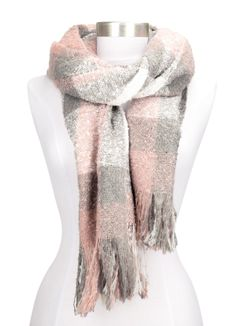 Strickschal mit Fransen einfarbig lang XXL Wollschal Oversized Winterschal Neverless®