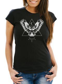 Damen T-Shirt Eule Slim Fit Neverless®