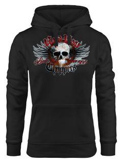 Kapuzen-Pullover Damen Motorrad Totenkopf mit Flügeln Hoodie Neverless®
