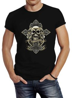 Herren T-Shirt Kreuz mit Totenkopf Cross Skulls Slim Fit Neverless®
