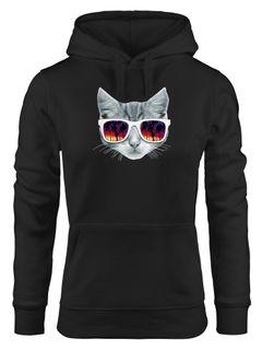 Hoodie Damen Katze mit Sonnenbrille Kapuzen-Pullover MoonWorks®