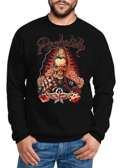 Sweatshirt Herren Rockabilly Skull 8 Ball Rock n Roll Würfel Pullover Neverless®
