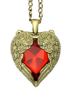Halskette Vintage Retro Rot Edelstein Herz Flügel Engelsflügel Bronze Anhänger