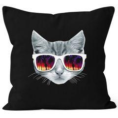 Kissenbezug Katze mit Sonnenbrille Kissen-Hülle Deko-Kissen 40x40 MoonWorks®