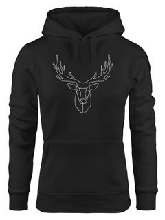 Kapuzenpullover Damen Hirsch Low Poly Moonworks®