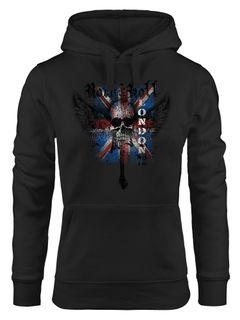 Hoodie Damen United Kingdomn Flagge Totenkopf Kapuzenpullover Moonworks®