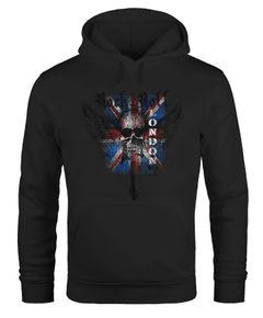 Hoodie Herren United Kingdomn Flagge Totenkopf Kapuzenpullover Moonworks®