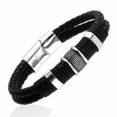 Lederarmband Herren Armband geflochtenes Rindsleder schwarz mit Edelstahl Autiga®